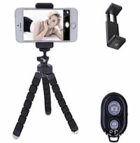Selfie tripod remote control and mobile phone set. Surrey, V3Z 0S3