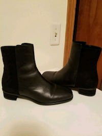 pair of black leather side zip boots Arlington Heights