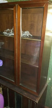 brown wooden framed glass display cabinet Detroit, 48238