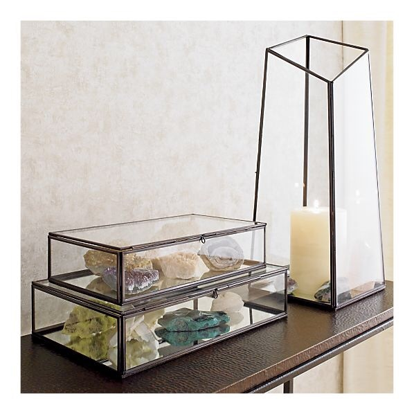 Crate And Barrel Glass Mirror Bottom Display Boxes Antique Bronze Trim
