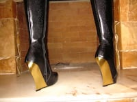 Women's Knee High Leather Boots w/ Gold Plated Blade Heel - John Fluevog Toronto, M5V