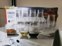 European made stemless red and white wine glasses