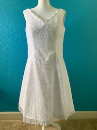 New Simple Scoop Neck A Line Tea-length Short Beach Lace Wedding Dress Kissimmee