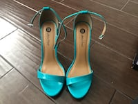 pair of teal leather open-toe ankle strap heels Chula Vista, 91910