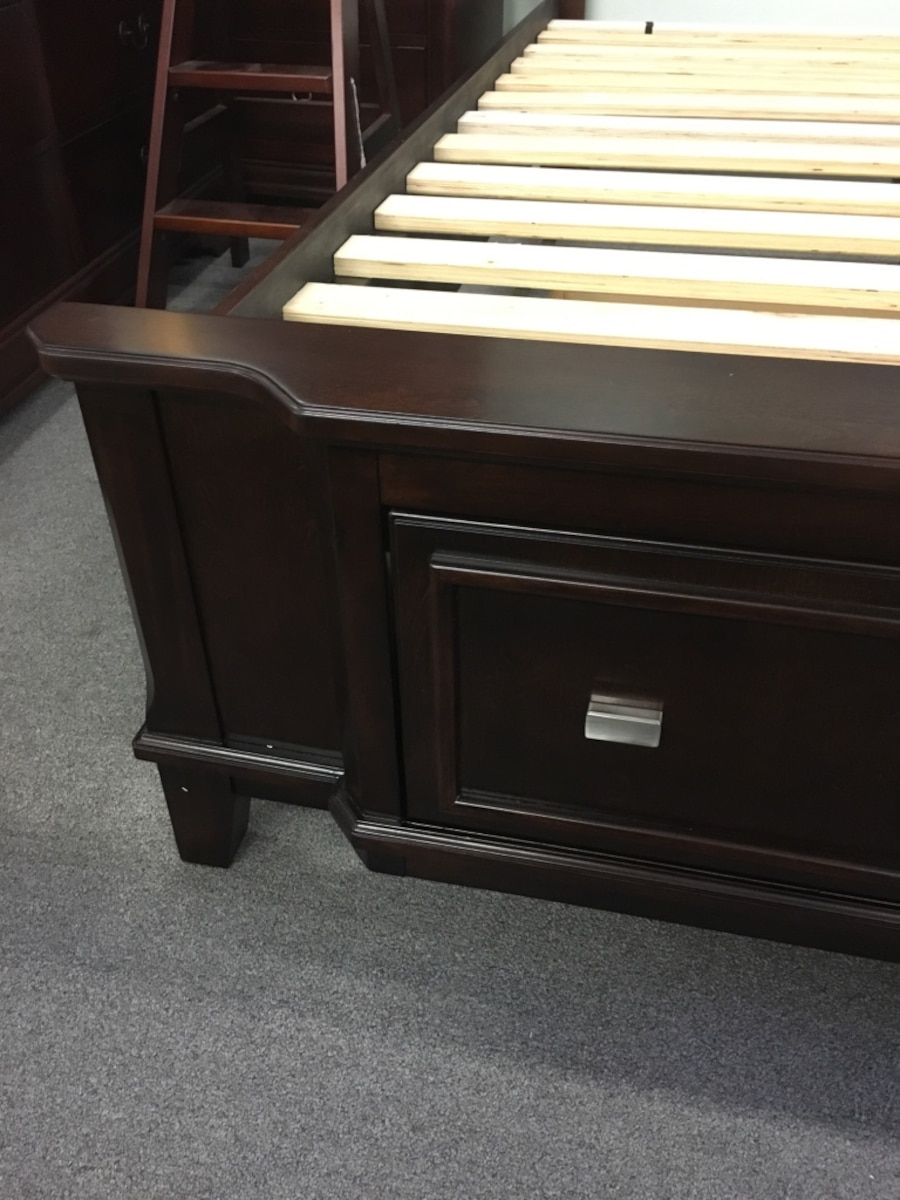 Dark Brown Queen Bed with Storage Drawers from Ashley Furniture - Bellflower