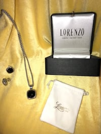 "Lorenzo pendant and earrings. 18kt gold, Sterling and black onyx. 24"" sterling chain. Earrings and pendant are cushion back with cross hatch design and beveled stones. Fine jewelry store item in original box with cleaning cloth and Lorenzo authentication Herndon, 20170"