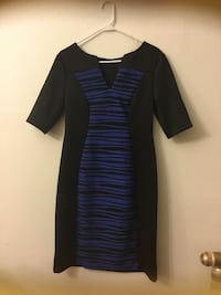 black and blue stripe v-neck elbow-sleeve bodycon midi dress Hayward, 94544