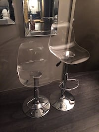 two stainless steel base with clear glass-top stools Barrie, L4M 6J3