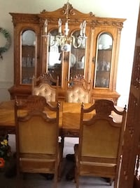 brown wooden framed glass display cabinet London, N6P 1B6