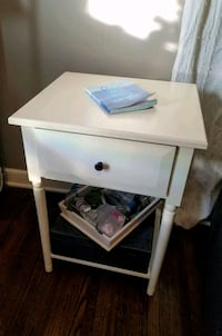 Simply White Single Drawer End Table w/ Shelf Below