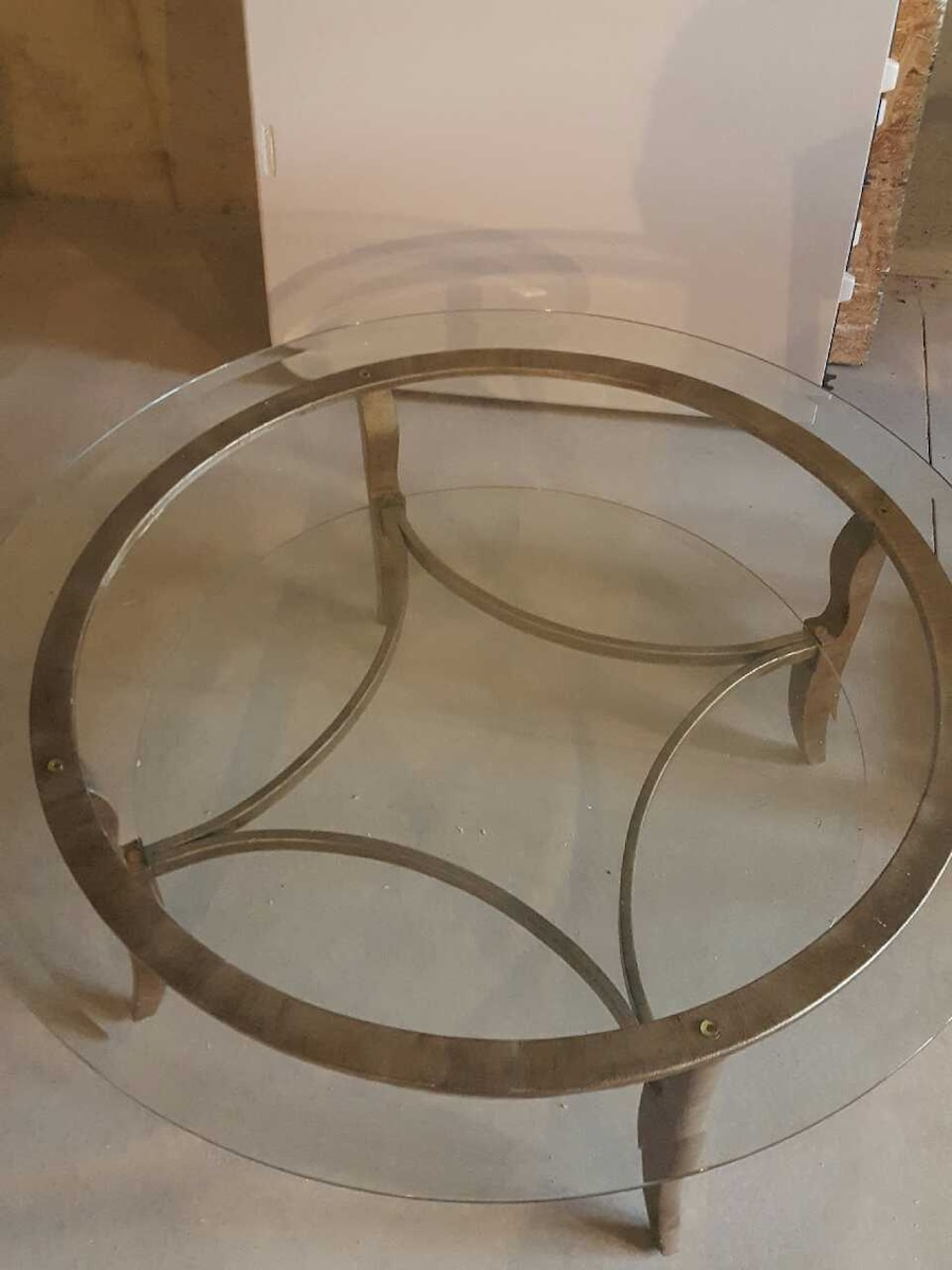 Used brown wooden frame glass top round table in wyoming for 13 inch round glass table top