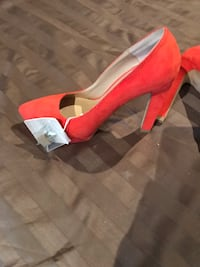 unpaired red and white leather platform stiletto 554 km