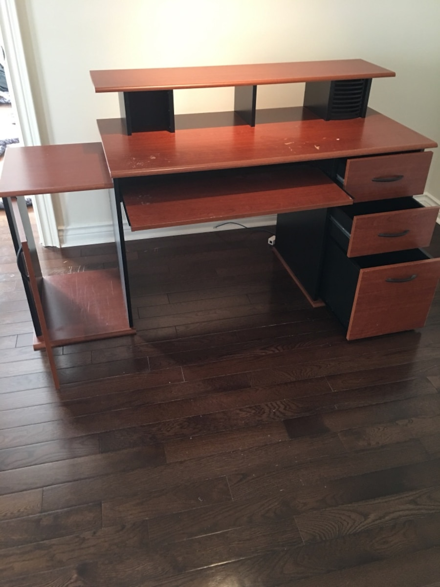 brown wooden knee hole desk - Vaughan