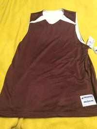 Maroon and White Adult Medium Sports Top