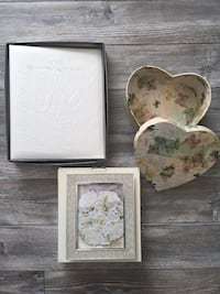 """""""Our Wedding Keepsake"""" Book (new), heart shaped box with lid (EUC) & 5x7 picture frame (new) Winnipeg, R2M"""