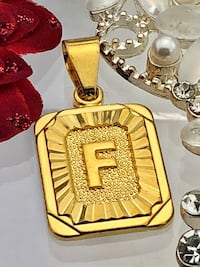 New! Gold coloured initials letter F pendant charm