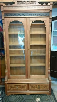 brown wooden frame glass pane display cabinet Guelph, N1E 5J2