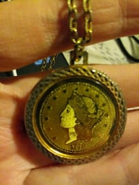 Lady Liberty Gold coin necklace jewelry 410 mi