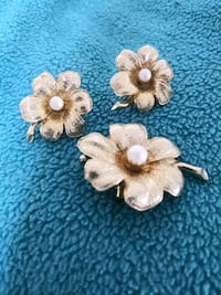 Coro brooch and clip earrings.  Haverhill, 01830