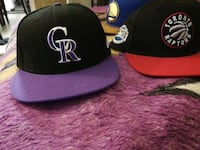 black and purple fitted cap