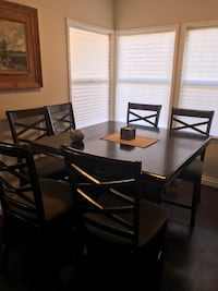 Bar height dining table with 6 chairs