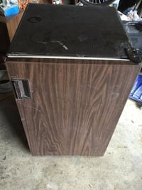 black and brown compact refrigerator