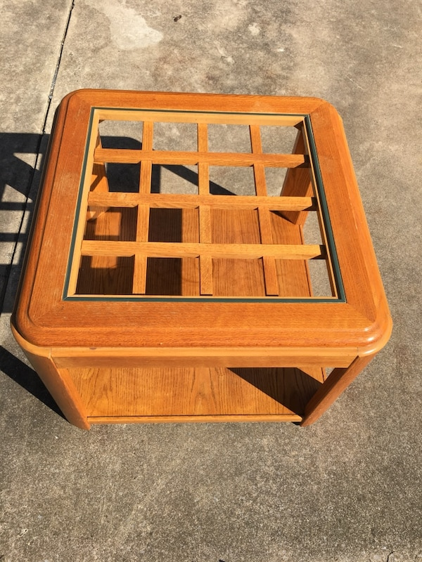 Brown wooden framed end table