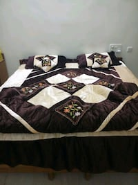 Brown and cream floral bed set Hyderabad