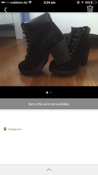 black leather chunky heel boots Kingsgrove, 2208