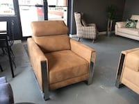 brown leather padded sofa chair THORNHILL