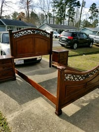 brown wooden bed frame and two nightstands Chesapeake, 23323