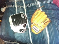 two yellow and white leather baseball mitts Norfolk, 23518