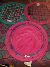 three round pink and blue moon chairs