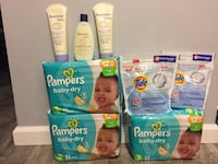 3packs Pampers size 3 2tide Pods 16counts each Bag 3aveeno lotion and wash 236ml and 227g bundle for $40/pick up Gahanna  296 mi