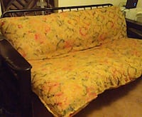 yellow and red floral fabric sofa