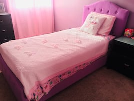 Twin fabric bed in lavender with bonus mattress