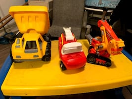 3 little tykes toys, firetruck, dump truck and lift truck