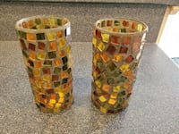 Stained glass candle holders or vases, New  Burtonsville