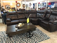black leather sectional sofa with ottoman Houston, 77084