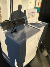 White front-load clothes washer Alfred and Plantagenet