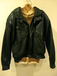 Mens large black leather jacket Elkins by Alamo Uo