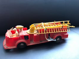 Vintage MARX plastic ladder fire truck  60's old patina toy.