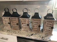 "Handmade Wooden Lanterns. 13""H x 5""W x 5""D Bridgeport, 06604"