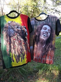 two lion and Bob Marley graphic shirts
