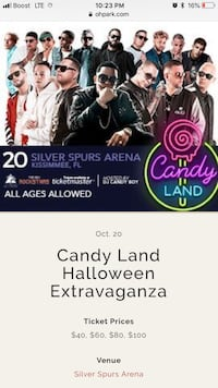 Candy land Sat 10/20/18~7pm Sec 207 Row x  2 tickets seat 3,4 Kissimmee, 34746