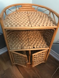 woven and rattan brown 3-layer stand