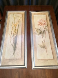 two still-life painting of yellow Freesia and pink Peony flowers