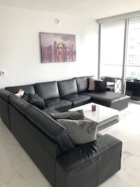 Sectional Black Leather Sofa