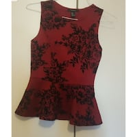 red and black floral crew-neck sleeveless peplum top