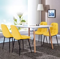 4 like new Yellow leather dining room accent chairs Montgomery Village, 20886